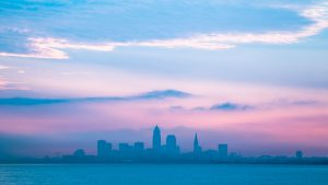 Landscape photo of downtown Cleveland Ohio on cloudy day.