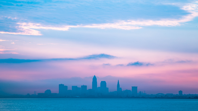 Landscape photo of downtown Cleveland Ohio on cloudy day