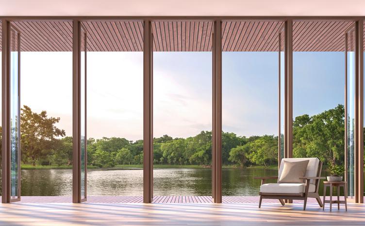 lake side living room 3d render